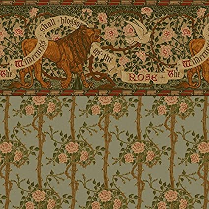 Amazon Com Dollhouse Wallpaper Arts And Crafts Lion And Dove Frieze With Briar Rose Wall Toys Games