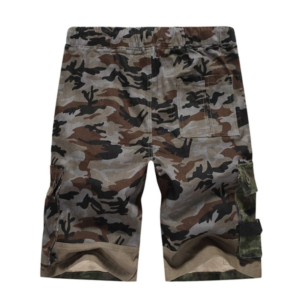 Men Camouflage Shorts,Yihaojia Premium Sport Loose Fit Outdoor Cargo Shorts with Elastic Waist (US:33, Gray)