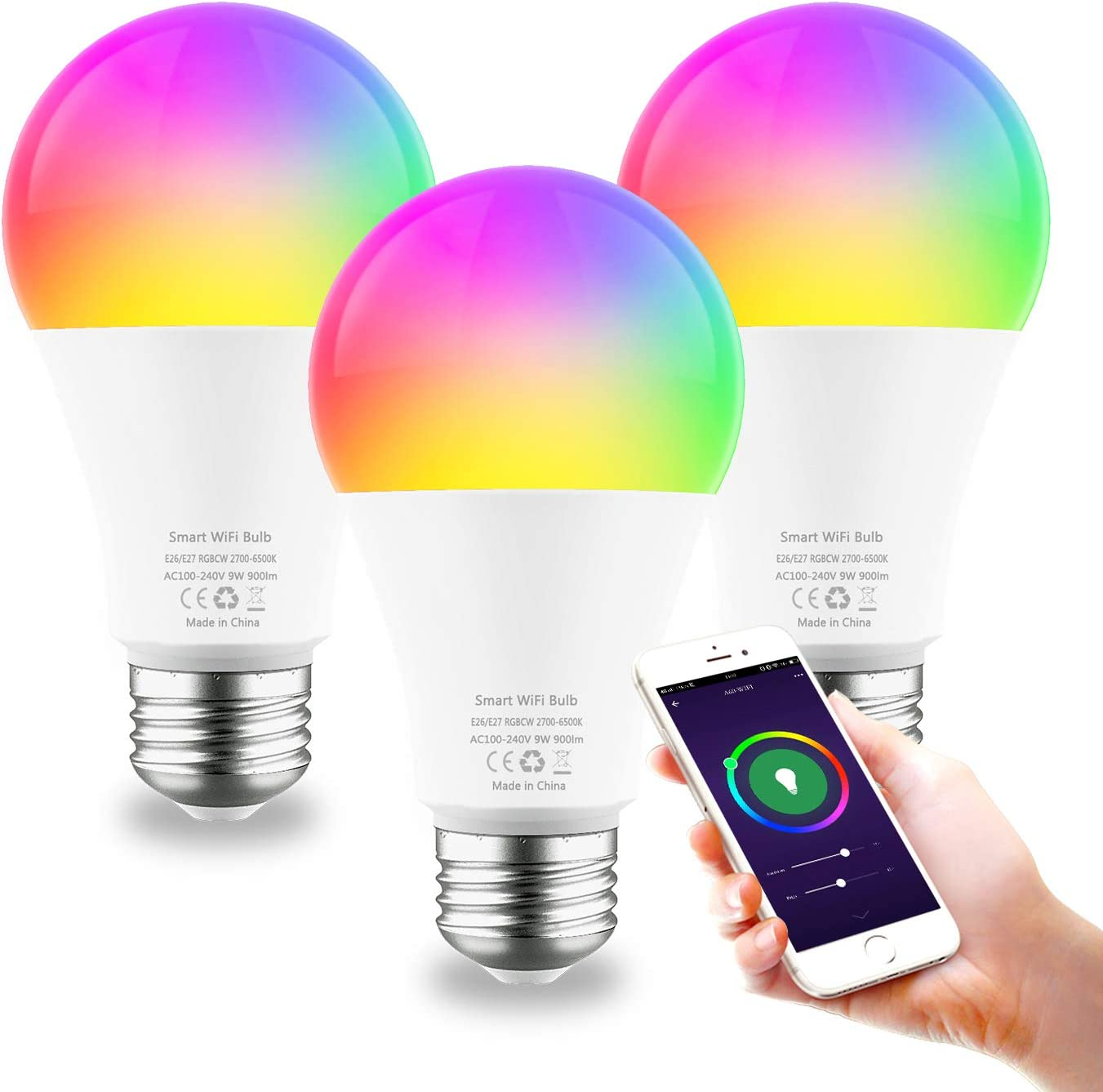 Smart Light Bulb E26 9W WiFi Color Changing LED Bulbs Work