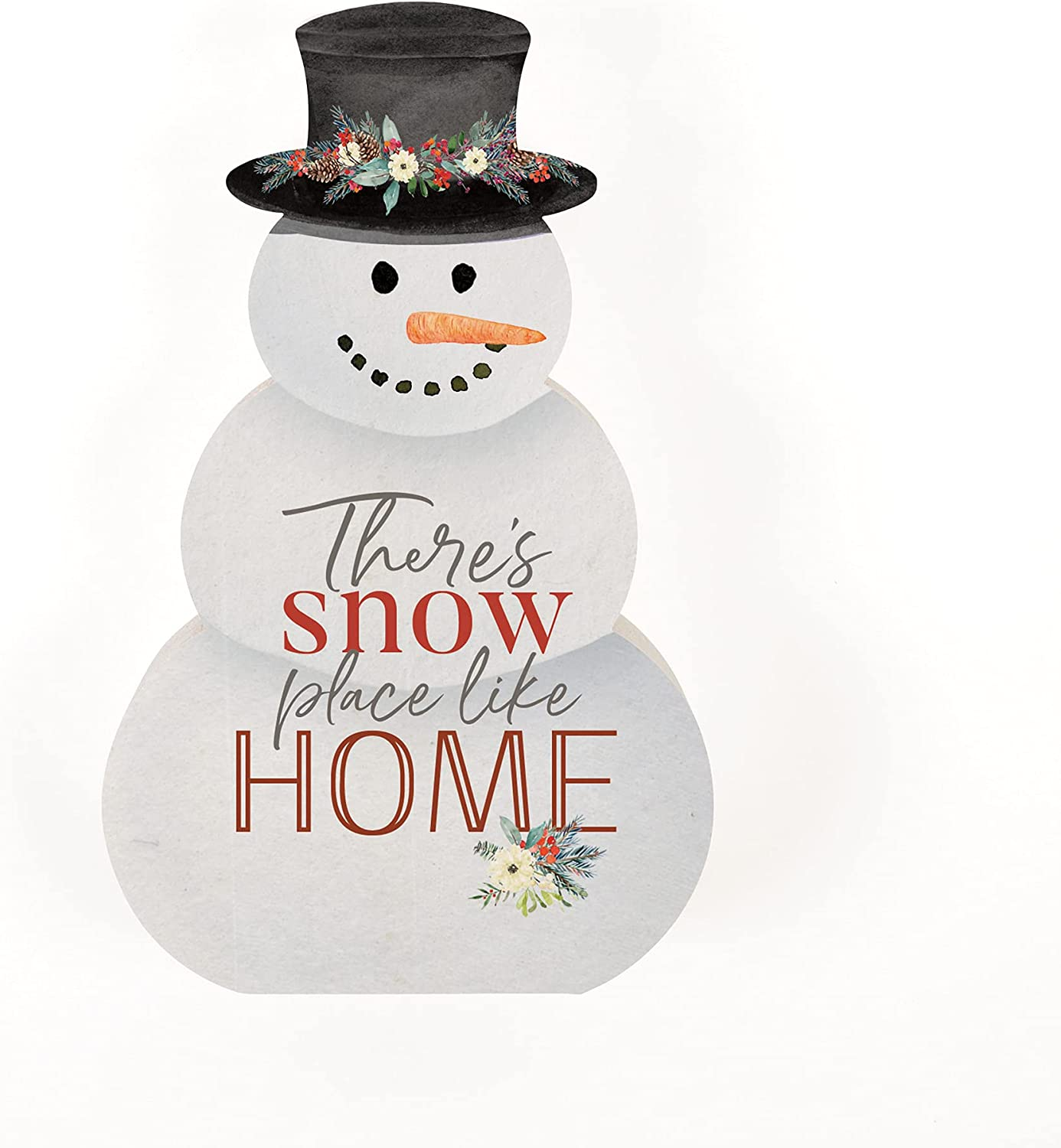 P. Graham Dunn Snow Place Like Home Snowman White 4.5 x 2.75 Pine Wood Holiday Tabletop Sign