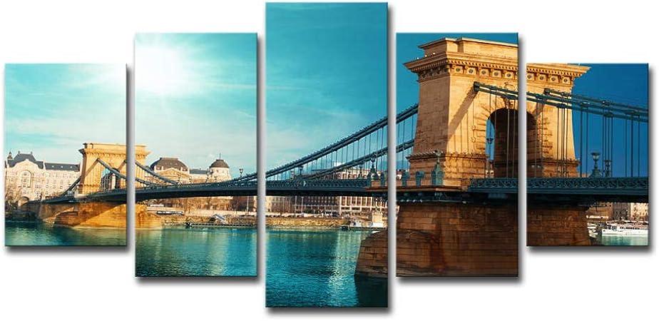 kssim Ville D\'Été Pont Suspendu Paysage 5 Peintures Art ...