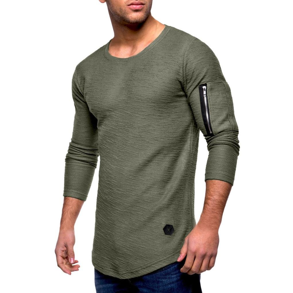 OWMEOT 00% Cotton Mens Casual V-Neck Button Slim Muscle Tops Tee Short Sleeve T- Shirts (Army Green, L)