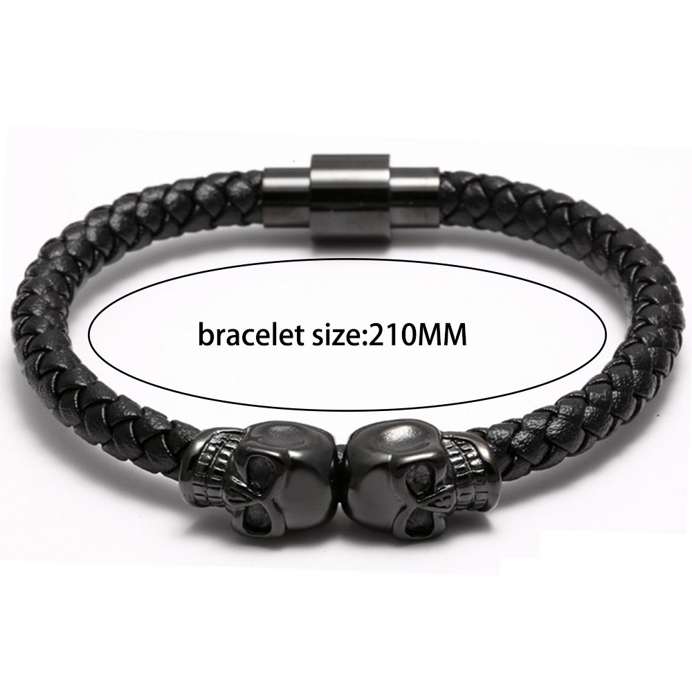 Meangel Braided Leather Bracelet for Men Stainless Steel Twin Skull Bangle Magnetic-Clasp 8.2 Inch by Meangel (Image #2)