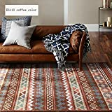 CarPet TOYM US Geometric Pattern Home Machine Washable Living Room Bedroom Bedside American Country Rectangular Thick (Color : ES113 coffee color, Size : 76120cm)