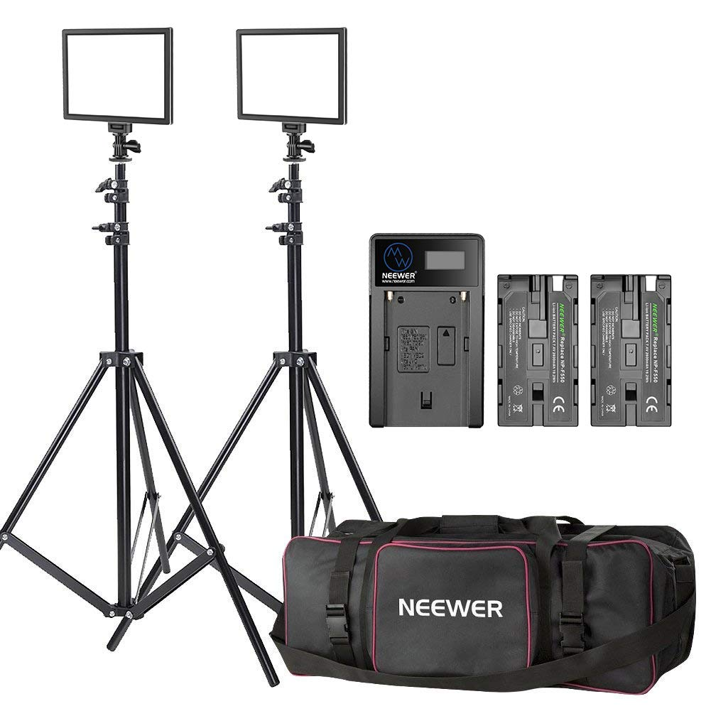 Neewer 2-Pack Photography Camera LED Video Light 3200K-5600K Ultra Thin Panel Lighting with (2)Light Stand, (2)2600mAh Li-ion Battery, (1)Charger and (1)Carrying Bag for Product Portrait Video Shooting 90094247