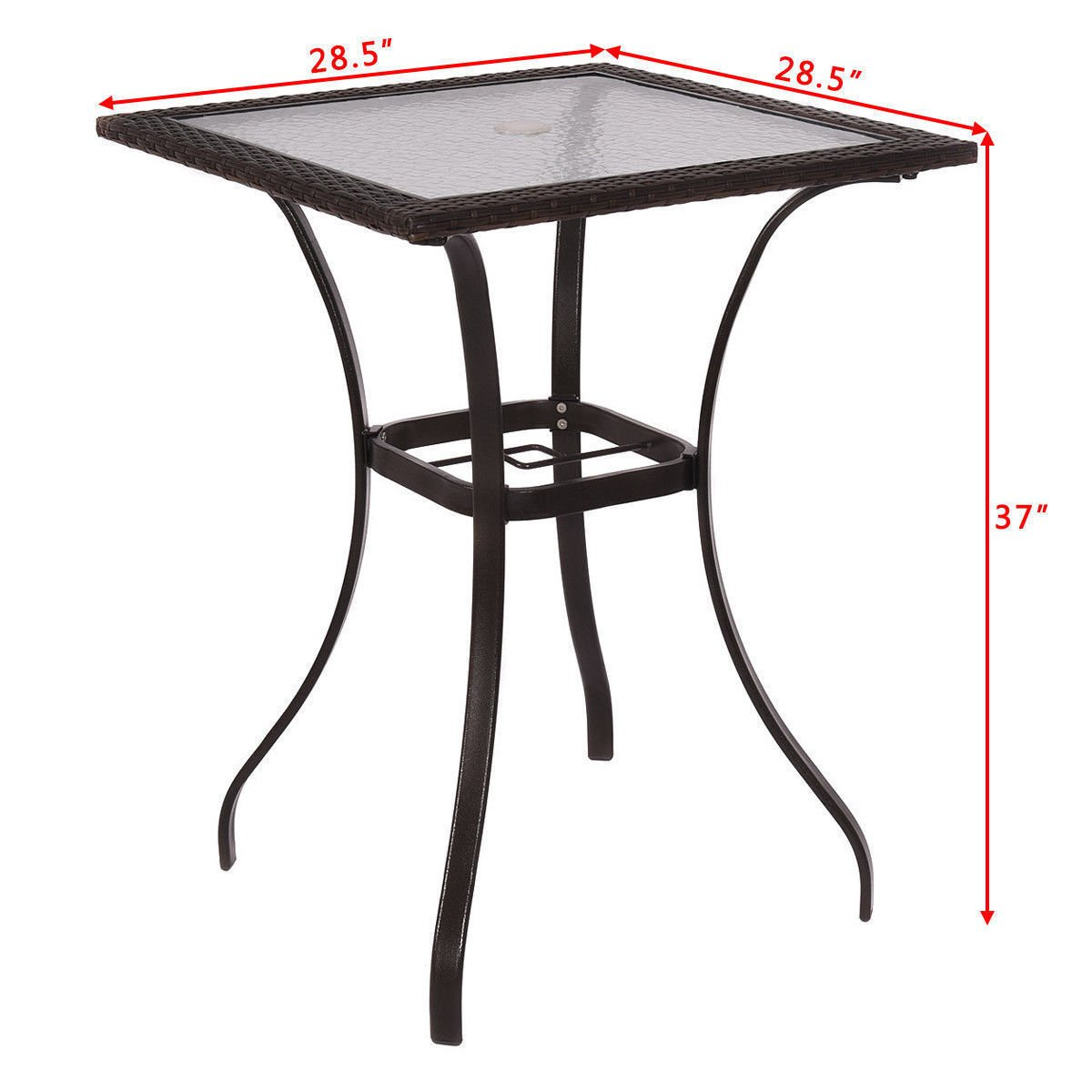 GoodGoods LLC Bar Square Table Glass Modern and Useful Outdoor Patio Rattan Wicker Top Yard Garden Furniture New by GoodGoods LLC (Image #2)