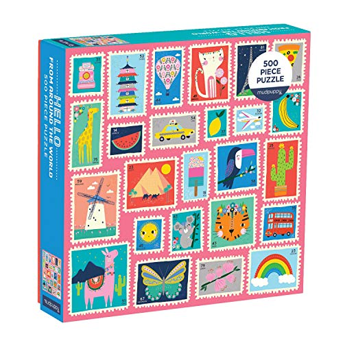 (Mudpuppy Hello from Around The World 500Pc Puzzle - Finished Puzzle Measures 20 X 20 - Features Colorful Illustrations of Postage Stamps from Countries All Over The World)