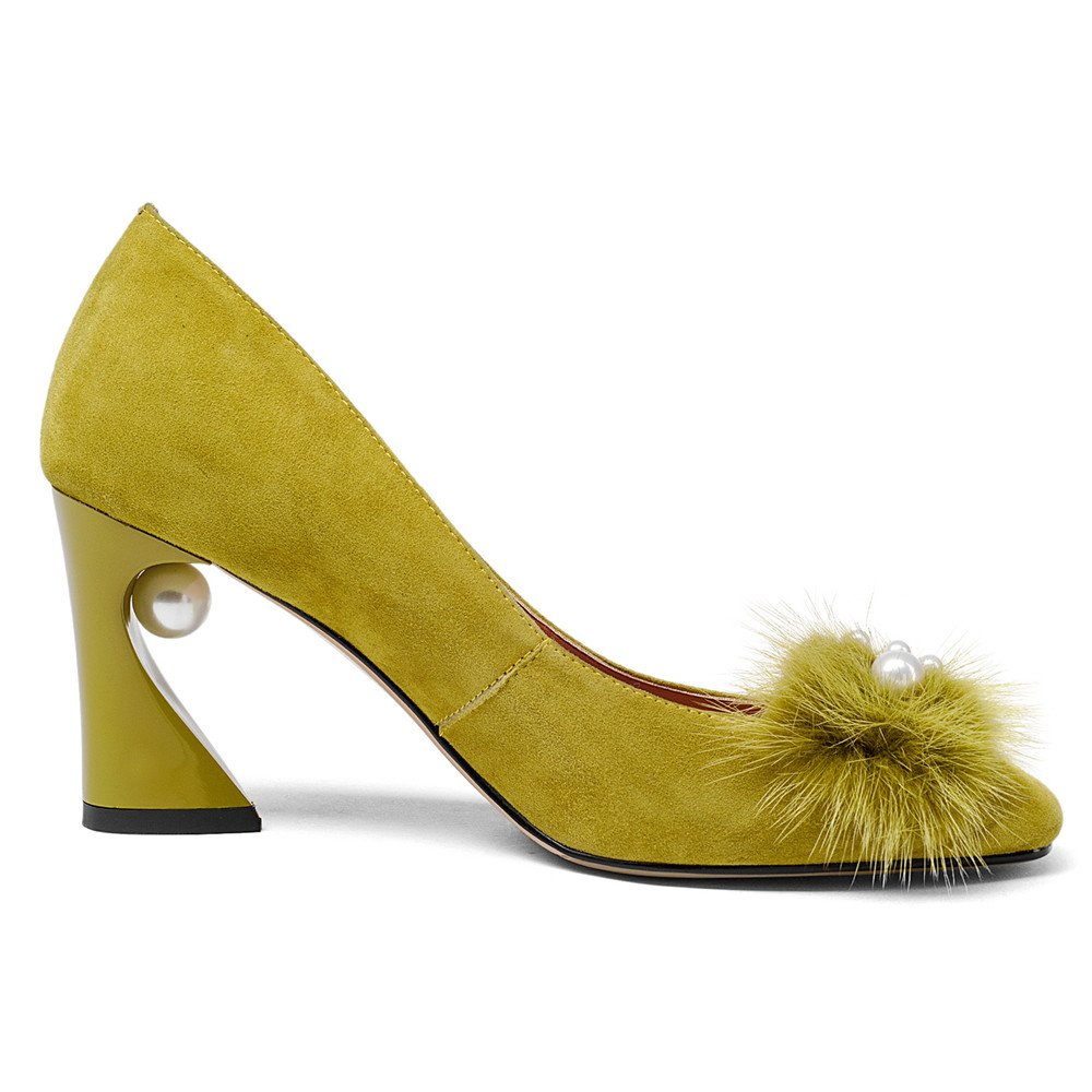 Nine Seven Suede Leather Women's Square Toe Chunky Heel Pearls Handmade Pumps Shoes with Fur (10.5, Yellow) by Nine Seven (Image #4)