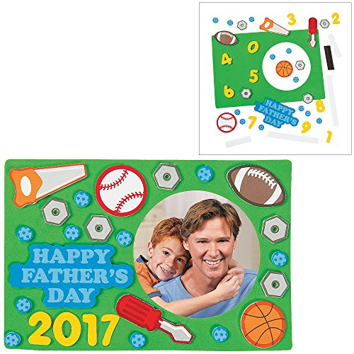 1 All About My Dad Tie Craft Boy Girls Fathers Day DIY Craft Kit; 1 Dated Picture Frame Magnet 1 Dad License Plate Sign Beaded #1 Dad Tool Key Chain Kit 1 Best Pop Color Your Own Can Coolers