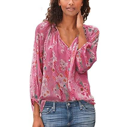 Camisa Verano Mujer,Wave 166 Blusa Mangas Largas Cuello en V ...