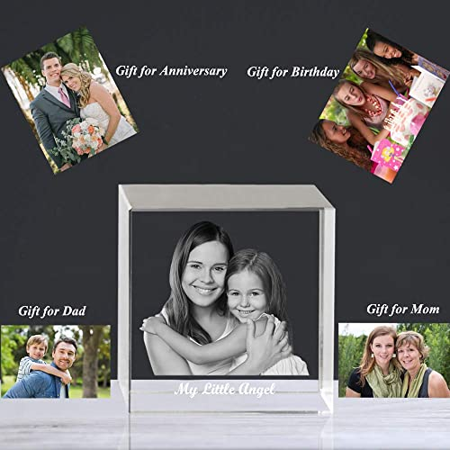 Qianruna Personalized Custom 2D 3D Crystal Laser Engraving Photo Cube Portrait Gifts for Wedding and Anniversary