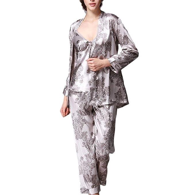 Conjunto De Pijamas De Lujo Mujer Conjunto para Vintage De Tres Camisones De Seda para Mujer Batas Pijamas con Estampado Floral: Amazon.es: Ropa y ...