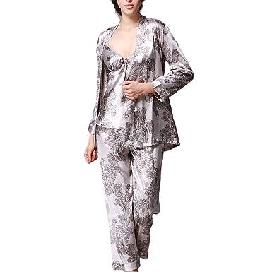 Betrothales Seda Buenas Batas Lujo Camisones Dormir Mujer para Conjunto Ropa De Noche Conjunto Dormir Tres Pijamas Un: Amazon.es: Ropa y accesorios