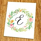 "E Monogram Print (Unframed), Nursery Wall Decor, Calligraphy, Flower Letter, Floral Alphabet, Living Room Decor, Initial Print, Typography Print, Watercolor, 8x10"", TB-060"