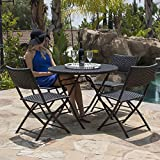 Cheap Belleze Bistro Set Folding Table & Chair Dining Rattan Wicker Outdoor Furniture Seat, 5PC