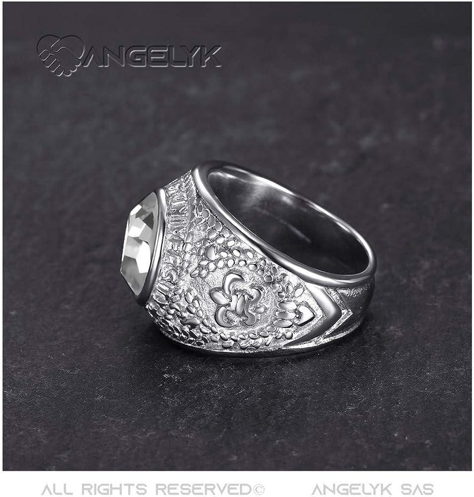 White Stainless Steel 316 Ring Signet Ring Man University USA Fleur de LYS University 316L Steel Silver 14 US BOBIJOO JEWELRY Z+2