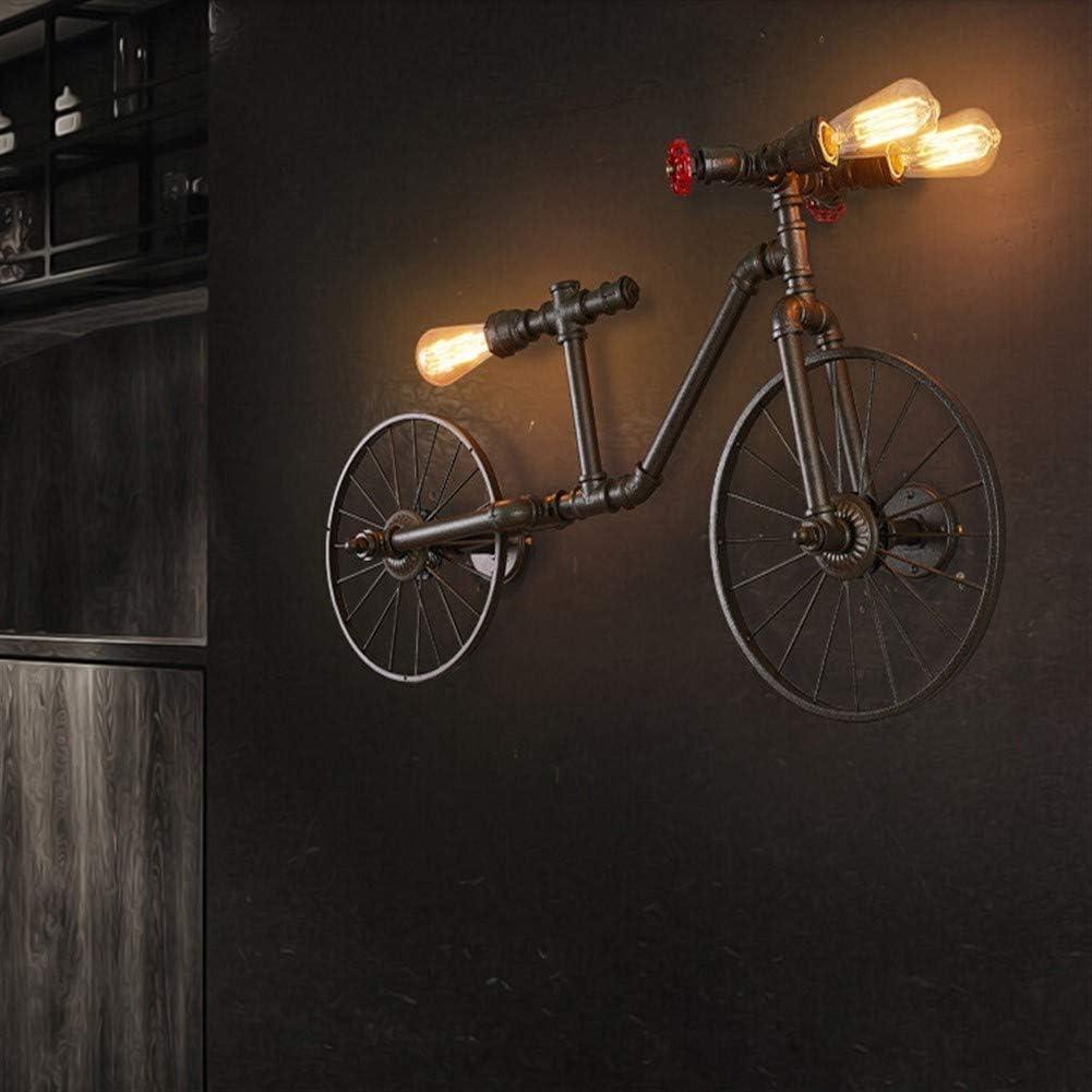 Luz de pared Americana Ciclo De La Lámpara Retro Loft Industrial Viento Nostálgico Café-bar Restaurante Lámpara Del Dormitorio Tubos Lámpara De Pared (Size : Black): Amazon.es: Iluminación