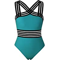58c666c481 Hilor Women s One Piece Swimwear Front Crossover Swimsuits Hollow Bathing  Suits Monokinis