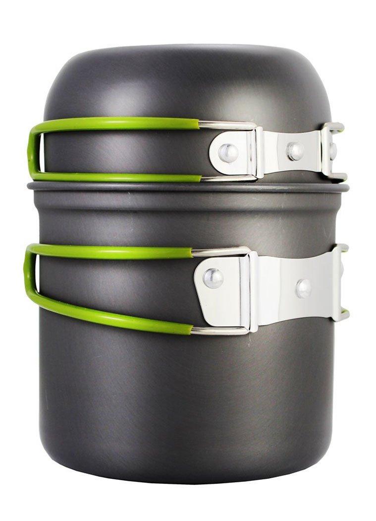 8pcsノンスティックポータブルキャンプ調理器具バックパッキングクッキングピクニックポットパンセットFits for 2 – 3 persons (グレー) Multi-size D153705OMQQT346 B07547FBKJ  シルバーグレー