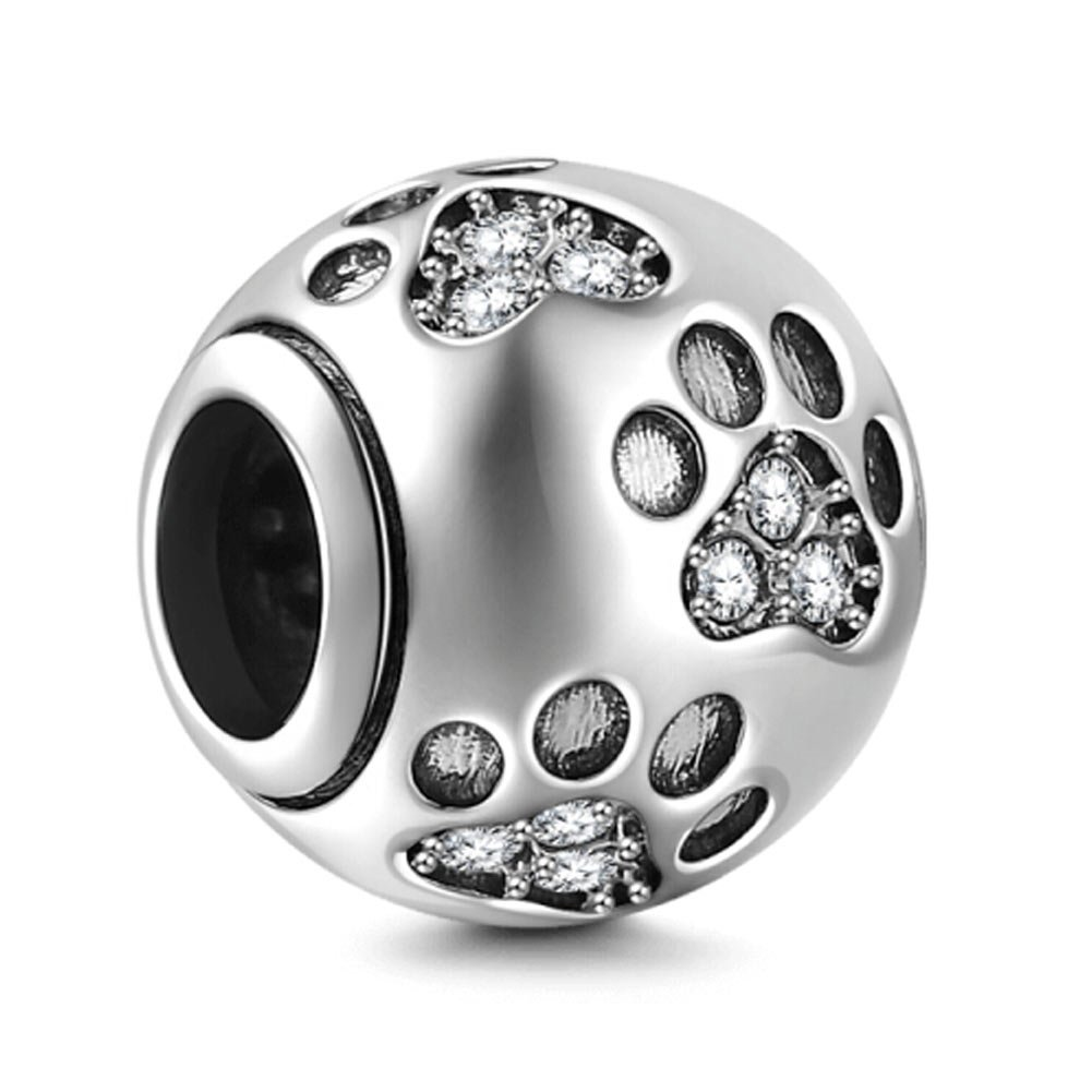 Dog Paw Print Charms 925 Sterling Silver Animal Birthstone Crystal Charms for 3mm Snake Chain Bracelets (Clear)