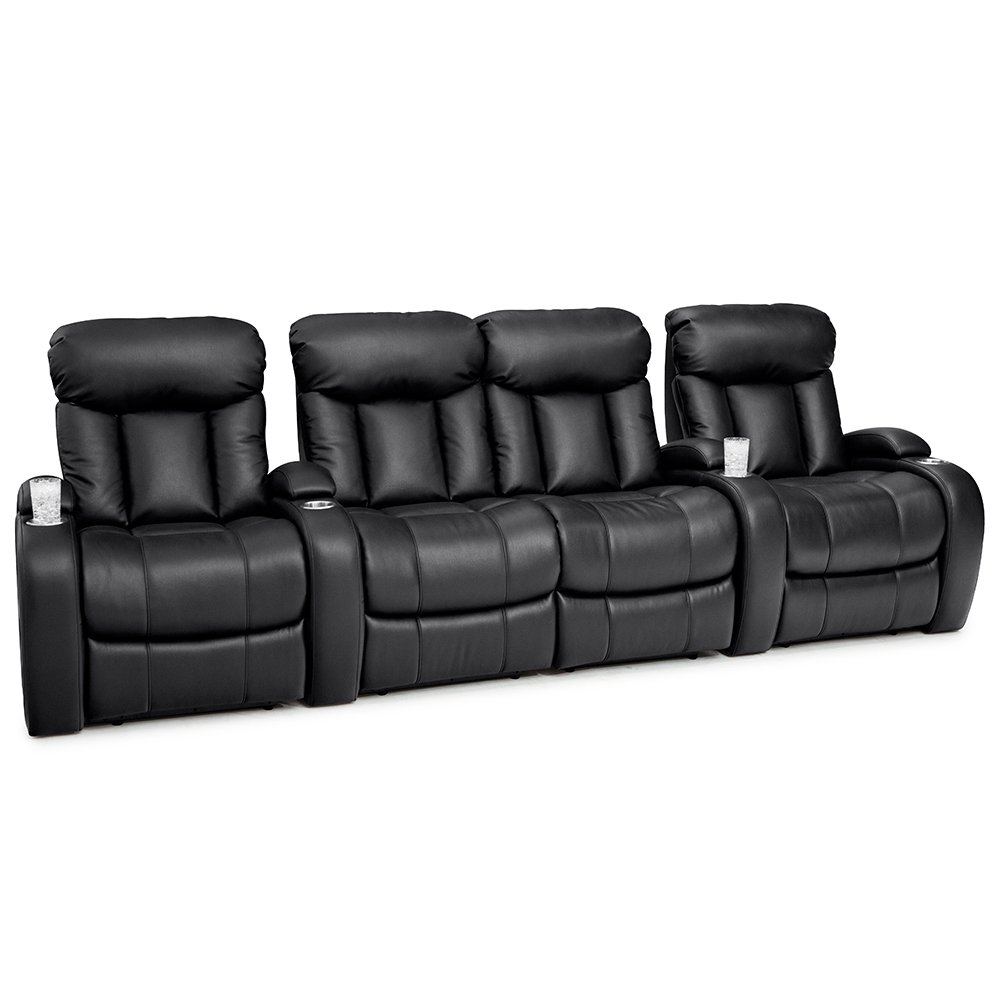 Seatcraft Sausalito Home Theater Seating Manual Recline Leather Gel (Row of 4 Loveseat, Black)