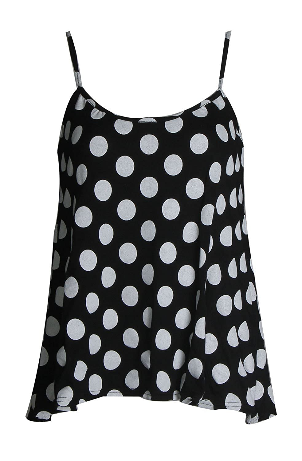 Forever Womens Plain Leopard Skull Printed Strappy Frill Cami Vest