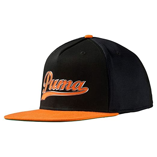 Amazon.com  PUMA Script Snapback Cap Black Vibrant Orange  Sports ... 0b9ba550348d