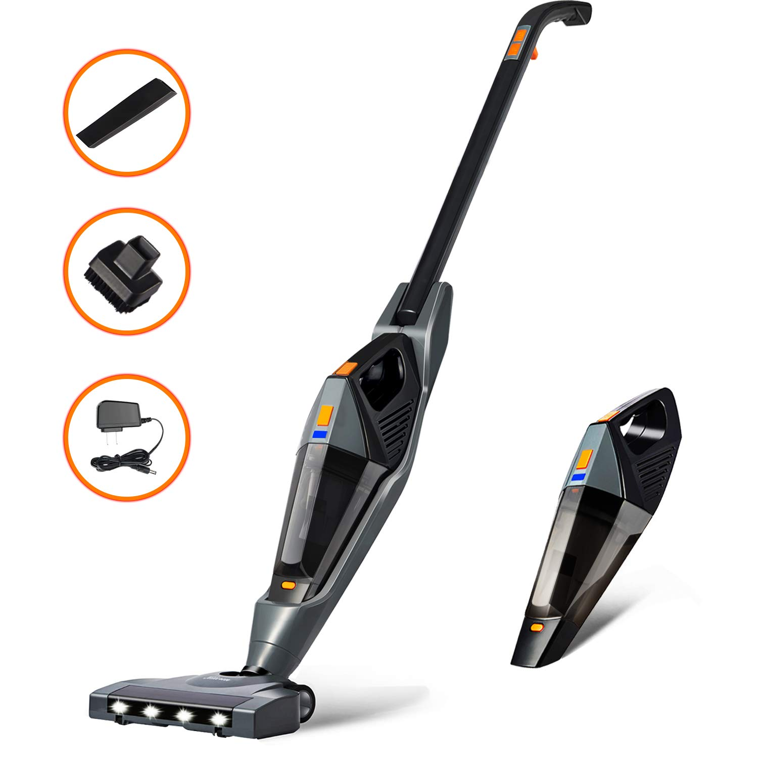Cordless Vacuum, Hikeren 12000 PA Stick Vacuum Cleaner, 2 in 1 Lightweight Rechargeable Bagless Stick and Handheld Vacuum for Carpet Hardwood Floor Pet Hair