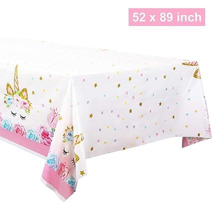 Amazon.com: Mantel de plástico desechable de unicornio de 52 ...