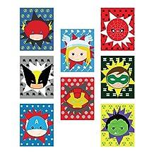 "Kid's Playroom Decor, Superheros Eight 5x7"" Set For Kids, Baby Boy Nursery Decor, Green Lantern, Flash, Spiderman, Captain America, Superhero Wall Art, Marvel Wall Art"