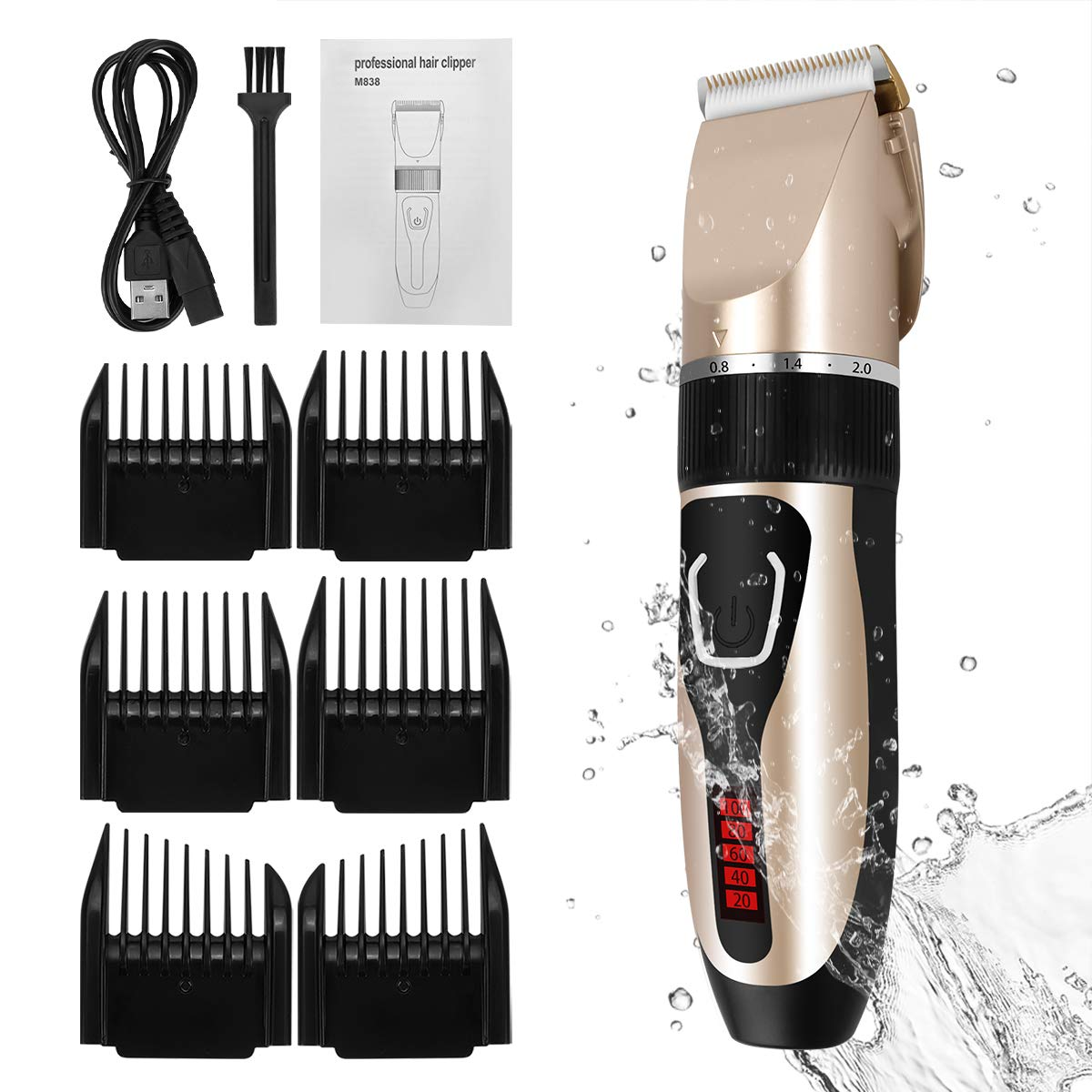 Amazon Com Cordless Mens Haircut Machine Professional Hair Clippers Electric Grooming Trimmer Set Rechargeable Hair Cutting Kits For Barber Kids Baby Father S Day Golden Beauty