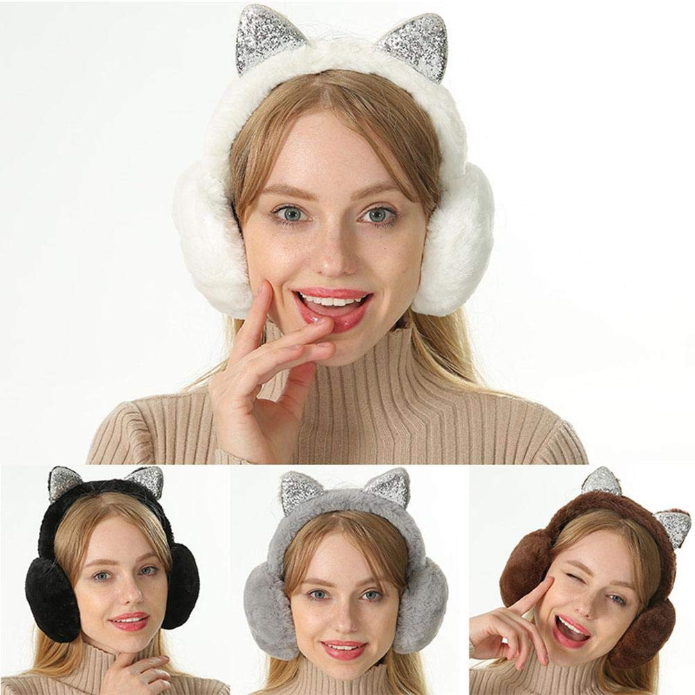 StageOnline Women Girl Fur Plush Ear Warmer Muffs Glitter Headband Cartoon 3D Earlobe,Foldable Cat Ear Earmuffs Sequin,Womens Cat Ears Cartoon Warmers
