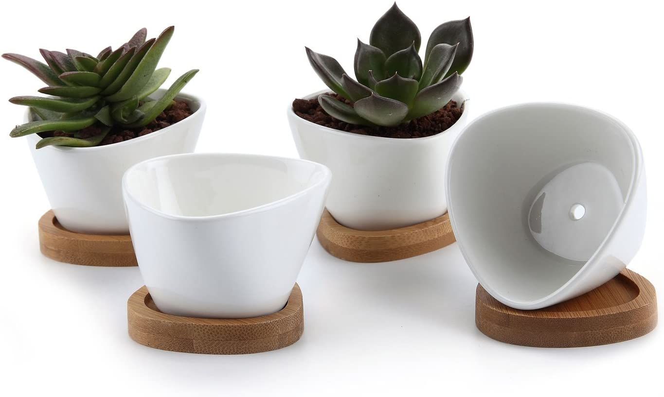 T4U 3 Inch Ceramic White Misalignment Traiangle Design Succulent Plant Pot Cactus Plant Pot with Free Bamboo Tray Package 1 Pack of 4