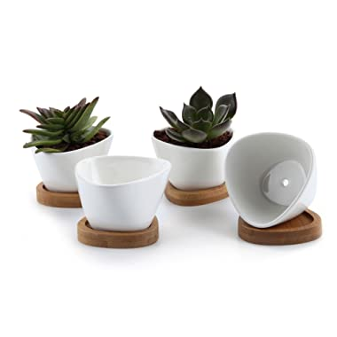 T4U 3 Inch Ceramic White Misalignment Traiangle Design succulent Plant Pot/Cactus Plant Pot with FREE Bamboo Tray Package 1 Pack of 4