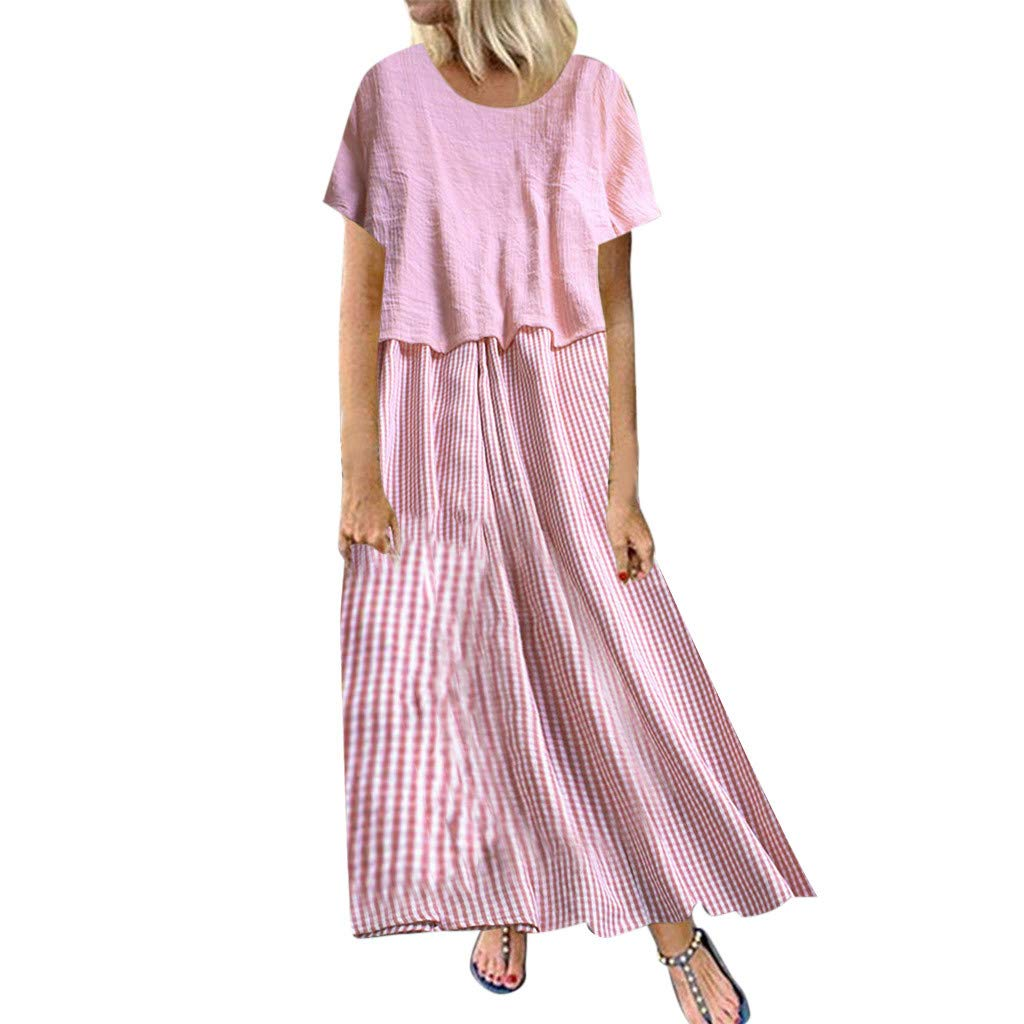 Wihoo Women Summer Striped Two Pieces O-Neck Short Sleeve Plus Size Casual Dress