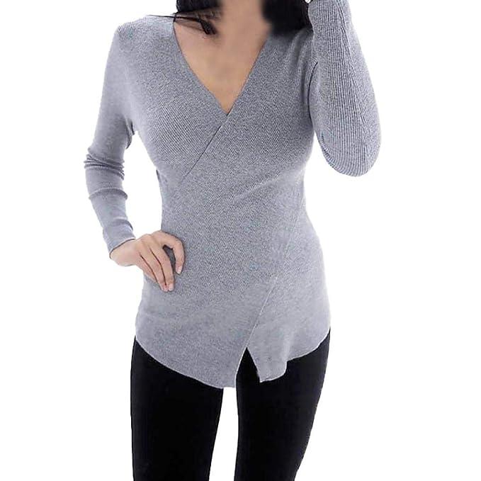 LuckES Túnica Delgada de Mujer de Moda, Blusa Cruzada con Cuello en V Camiseta de Color sólido Camisa de Manga Larga: Amazon.es: Ropa y accesorios