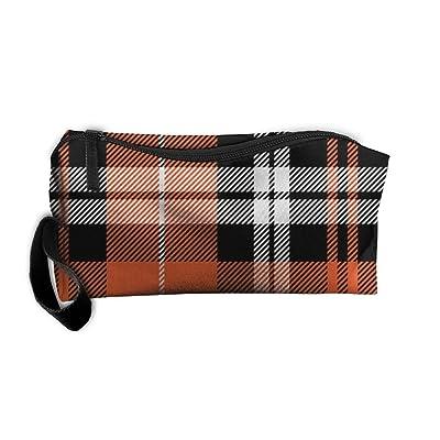 SDTTYHNM Travel Bag Cosmetic Bags Brush Pouch Orange Plaid Portable Makeup Bag Zipper Wallet Hangbag Pen Organizer Carry Case Wristlet Holder