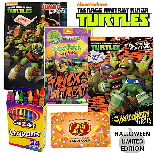 Halloween Activity Book Set - Ninja Turtles Halloween Costume Activity Book Set by ColorBoxCrate Includes Teenage Mutant Ninja Turtles Halloween Coloring Book, TMNT Halloween Play Pack, Ninja Turtles Stickers, Candy Corn and More