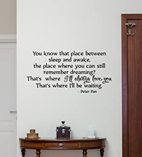 Peter Pan Wall Decal Never Say Goodbye Quotes Walt Disney Lettering