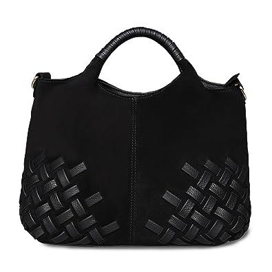 Nico Louise Women Weave Suede Genuine Leather Handbag Female Leisure Casual  Lady Crossbody Shoulder Bag Messenger cd8b7842ae