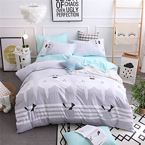 YIweNi Table No. 4-piece _non-Washed Cotton 4-Piece Set Grid Size, and the gray every day, 2.2 m: a 220240cm, bedspreads 250250cm, pillow 4874 4 piece set by Bedding YIweNi