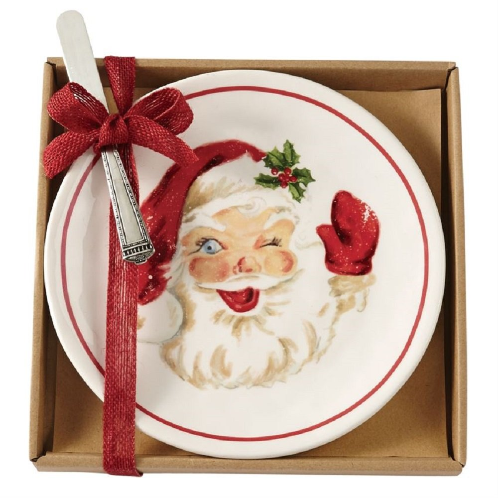 Mud Pie 41100002 Vintage Santa Serving Cheese Plate Set One Size White//Red