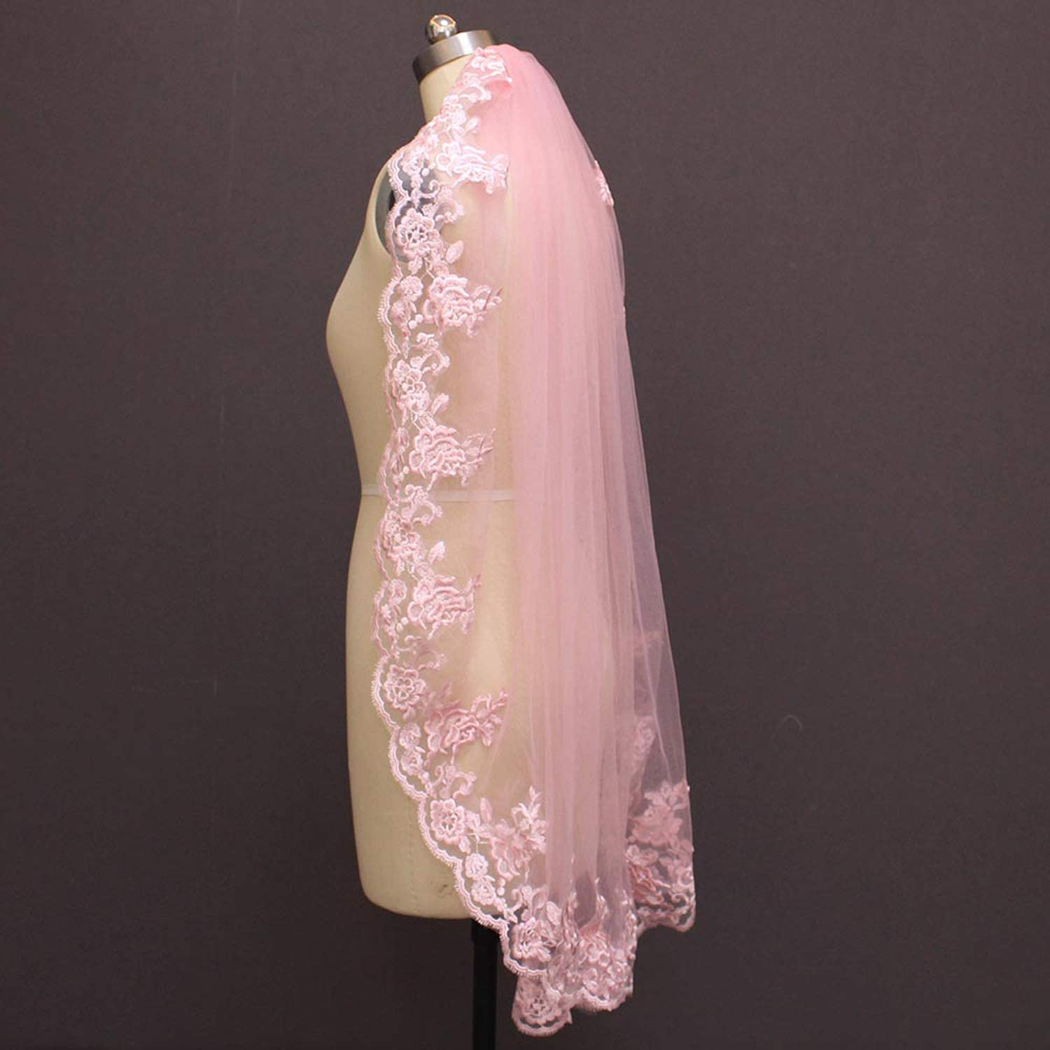 One Layer Pink Lace Short Wedding Veil with Comb Beautiful Bridal Veil Voile De Mariee