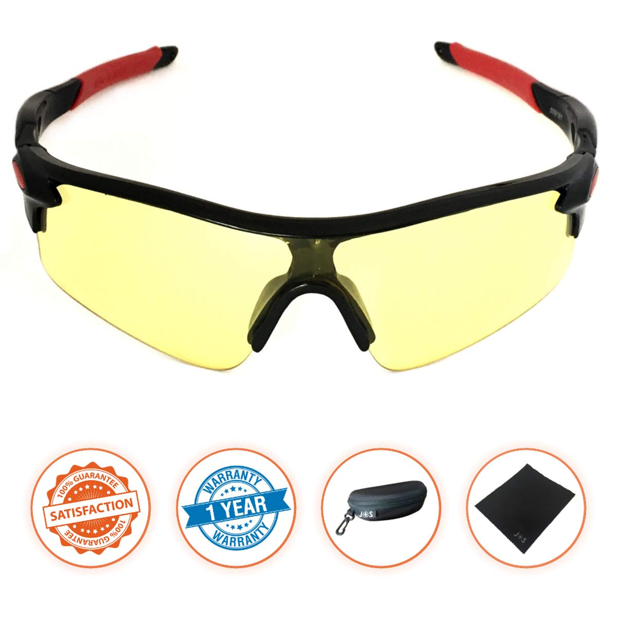 J+S Active PLUS Cycling Outdoor Sports Athlete's Sunglasses, 100% UV protection (Black Frame/Yellow Lens)