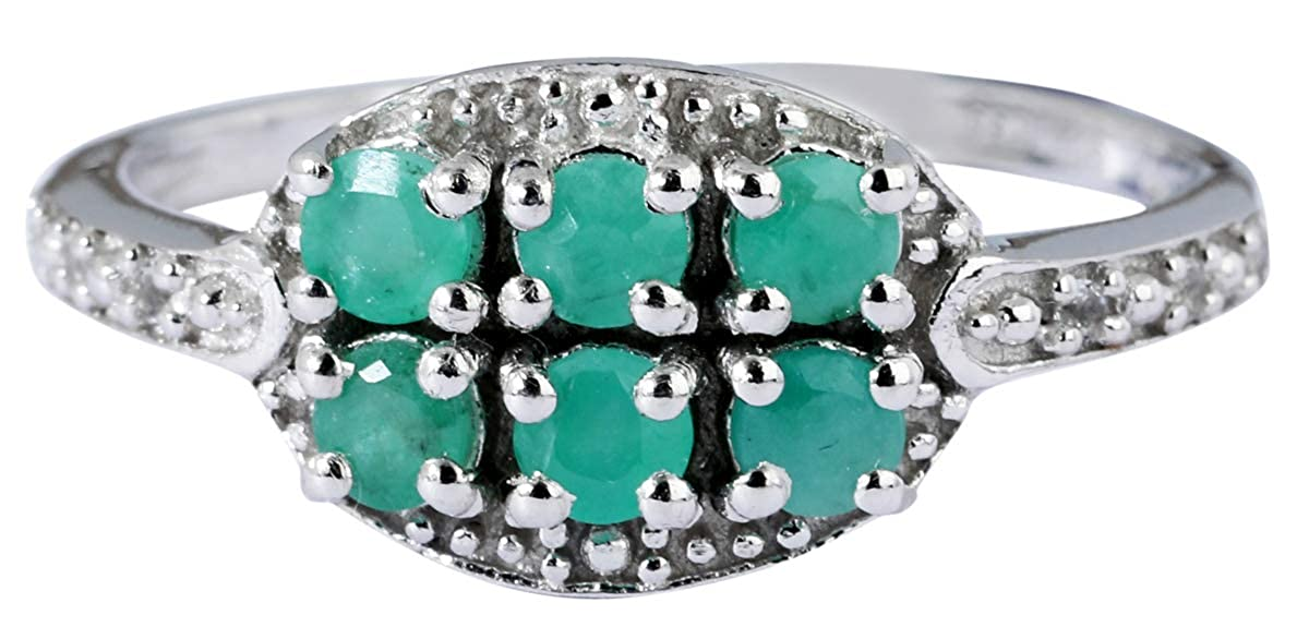 Banithani Emerald 925 /Sterling Silver Rings For Women Indian Fashion Jewelry