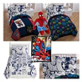 Marvel Comic Heroes Kids 7 Piece Full Bed in a Bag - Reversible Comforter, Sheet Set and 2 Reversible Pillowcases, Plush Throw Blanket and Spiderman Pillow Buddy