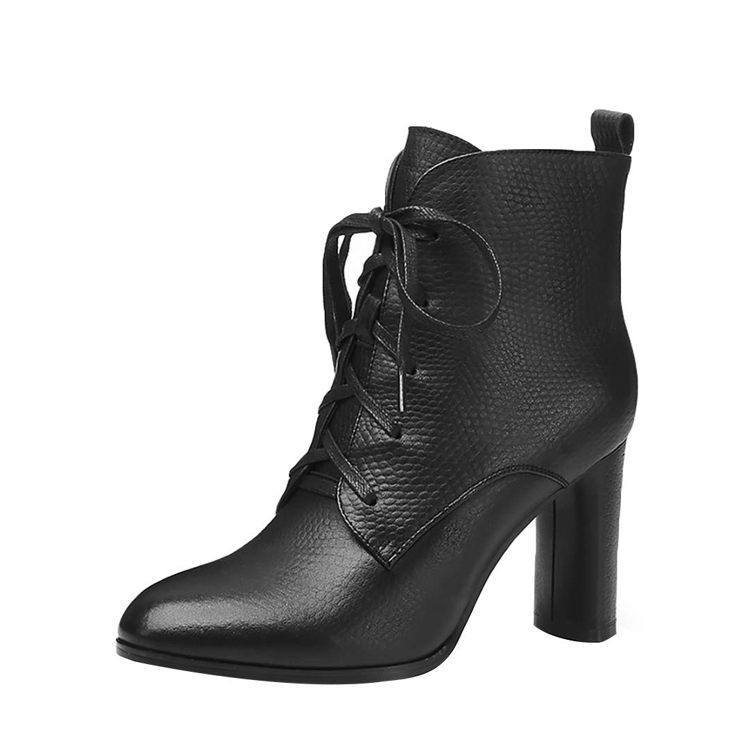 Black MAYPIE Womens Toattra Leather Zipper Ankle Boots
