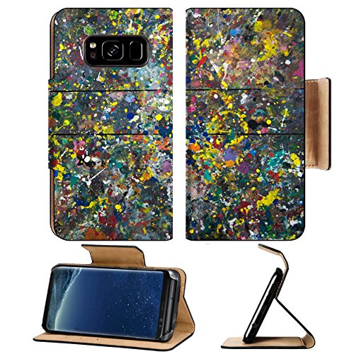 Liili Premium Samsung Galaxy S8 Plus Flip Pu Leather Wallet Case After painting unfinished color tables background (Unfinished Purses)