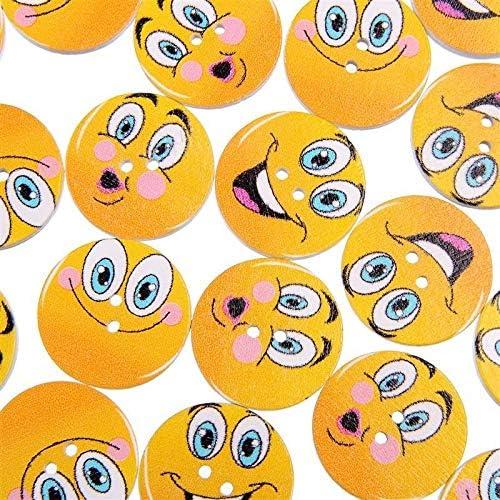 RTYW 子供服縫製ボタン工芸スクラップブッキングアクセサリー用50PCSかわいいスマイリーフェイス木製ボタン25MM (Color : Random mix)