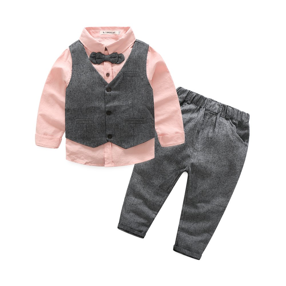 Boys 3Pcs Clothing Sets Cotton Long Sleeve Bowtie Shirts +Vest +Pants Casual Suit (5T/120), Pink